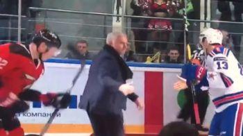"""Care ati tras, ma, covorul?"" :) FAZA GENIALA cu Mourinho in prim-plan: a cazut pe gheata la un meci de hochei | VIDEO"