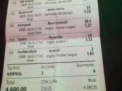 Cati bani a castigat un roman care a pus 4.600 lei pe un singur bilet la pariuri, ieri! Emotii teribile pe final in Borussia - Hoffenheim