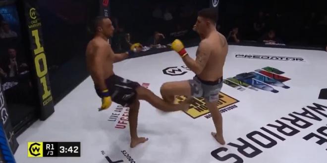 Moment horror in cusca! Si-a distrus piciorul dupa ce a incercat un low-kick! VIDEO