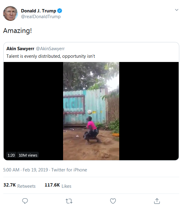 Chiar si Donald Trump i-a dat LIKE! O femeie din Africa jongleaza la fel ca Neymar! VIDEO FABULOS