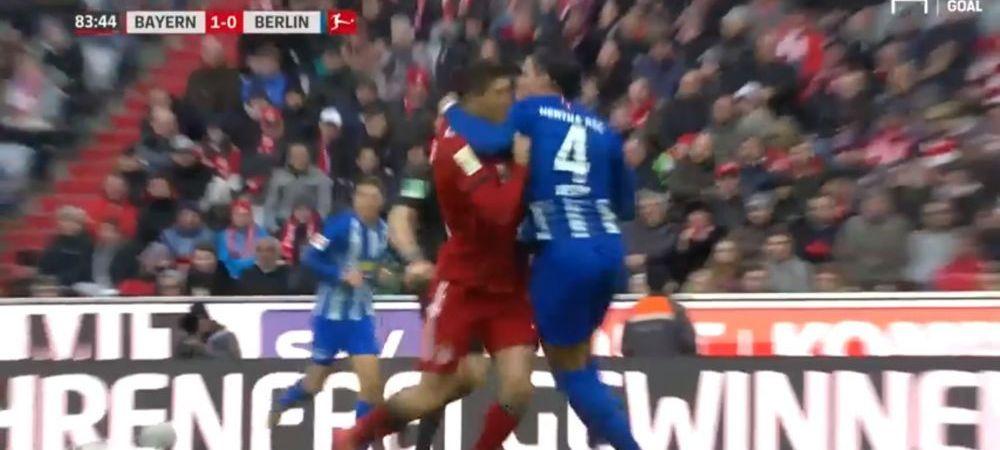 """""""De ce ma elimini?"""" Fundasul lui Hertha l-a facut KO pe Lewandowski, dar nu a inteles de ce a luat rosu! :))"""