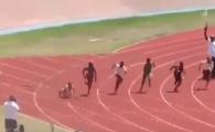 FABULOS! Imagini nemaivazute la o cursa de 100 de metri! A cazut la pamant cand s-a dat startul, ce a urmat e HALUCINANT! VIDEO