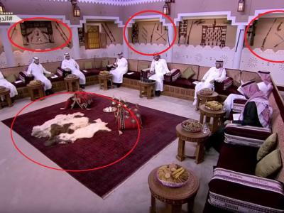 Pusti si sabii pe pereti, mancare pe mese si piei de animale pe jos! Cum arata studio-ul televiziunii de sport din Arabia Saudita