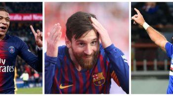 """La 1 de locul 1! Mbappe s-a apropiat la un singur gol de Messi, """"batranul"""" Quagliarella l-a egalat pe Ronaldo in topul pentru Gheata de Aur"""