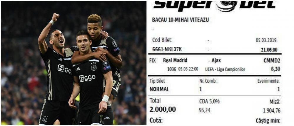 Cati bani a putut sa castige romanul care a avut curajul NEBUN sa puna 2.000 lei pe calificarea lui Ajax! Suma impresionanta: FOTO