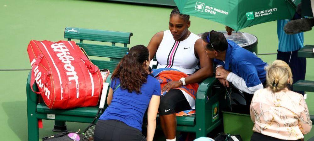 Probleme grave pentru Serena Williams la Indian Wells! Americanca nu a mai putut continua partida! Ce s-a intamplat