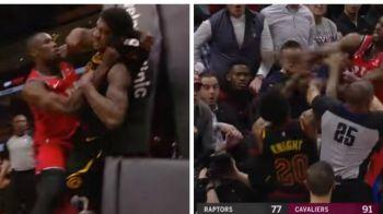 Bataie INCREDIBILA in NBA la meciul Cleveland Cavaliers - Toronto Raptors! Jucatorii si-au impartit pumni chiar pe teren! VIDEO