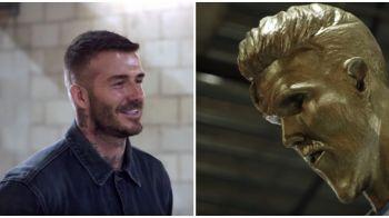 "FARSA GENIALA pentru David Beckham! James Corden i-a construit o statuie ORIBILA: ""Uitati-va la fundul meu! Sigur nu arata asa!"" :))"
