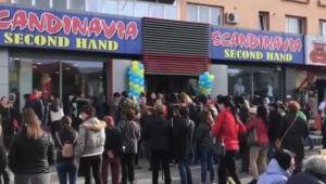 VIDEO Busculada la deschiderea unui magazin SH in Targu Jiu: zeci de oameni s-au impins