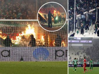HAOS INCREDIBIL in Grecia! Ce sanctiune primeste Panathinaikos dupa invazia fanilor pe teren! Meciul a fost abandonat. VIDEO