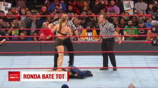 Ronda Rousey, scapata de sub control in ringul de wrestling! A atacat un arbitru si un bodyguard, sotul ei s-a implicat si el in razboi
