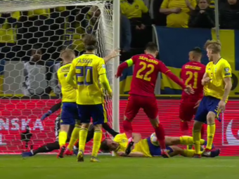 SUEDIA - ROMANIA 2-1   A FOST PENALTY?! VIDEO - Faza la care jucatorii nationalei au cerut 11 metri, in prelungiri