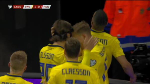 GOL SUEDIA! Quaison deschide scorul in meciul cu Romania. VIDEO