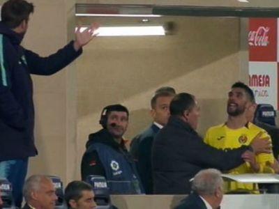Pique, scandal cu un jucator de la Villarreal la meciul de aseara! Cei doi si-au adresat cuvinte grele in tribune, intr-un moment de tensiune: FOTO