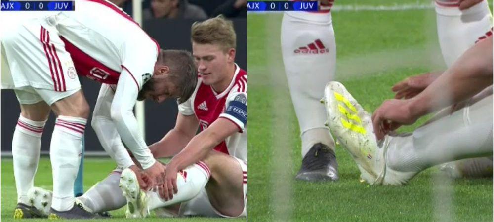 Imaginea serii in Champions League. Cel mai batran jucator al lui Ajax ii leaga sireturile celui mai tanar de pe teren. FOTO