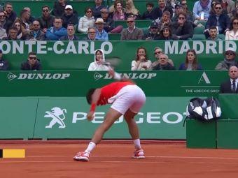 Novak Djokovic, reactie nervoasa la Monte Carlo! Liderul mondial a dat de pamant cu racheta! Care a fost motivul | VIDEO