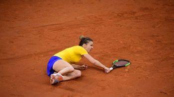 FRANTA - ROMANIA FED CUP | Simona Halep, la pamant in finalul primului set! Romanca a fost la un pas de o accidentare! Ce s-a intamplat!