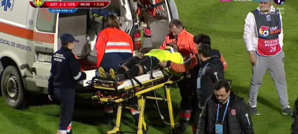 ASTRA - CFR CLUJ 2-2 | Momente teribile la Giurgiu! Omrani s-a prabusit pe gazon, ambulanta l-a dus de urgenta la spital! Ce a patit