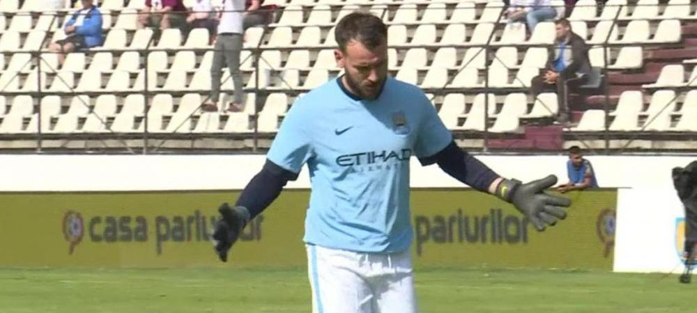 """A jucat impotriva Rapidului in echipamentul lui Manchester City: """"Mi-am luat echipamentul asta special pentru acest meci!"""" Declaratie fabuloasa a portarului de la Agricola Borcea"""