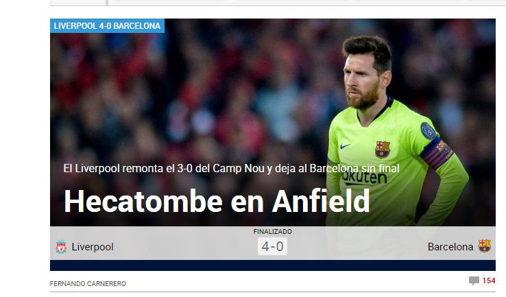 """""""MACEL PE ANFIELD"""", """"TRAGEDIA BARCELONEI PE ANFIELD"""". Reactii dupa meciul uluitor de la Liverpool! Englezii sunt in finala UCL"""