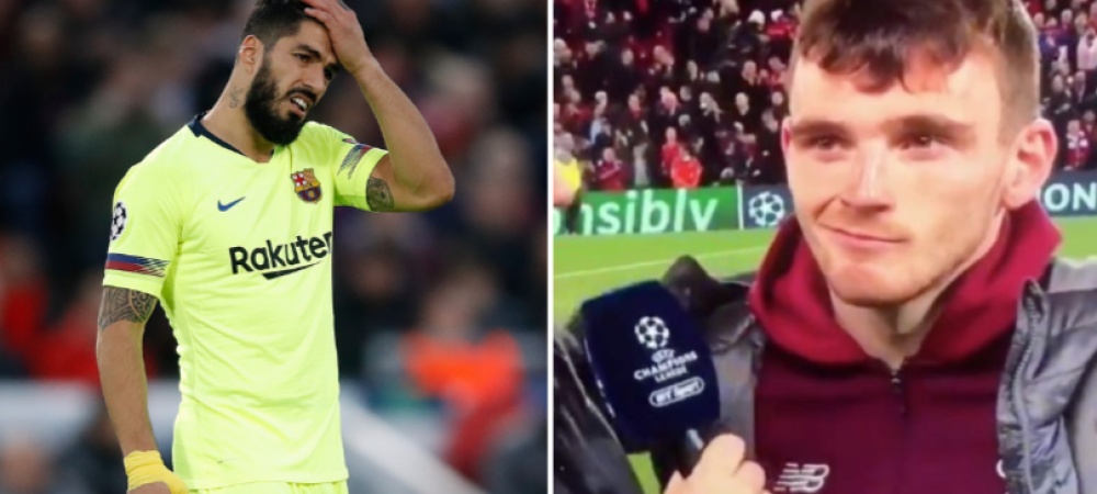 """Cum s-a razbunat scotianul Robertson pe Luis Suarez: """"Doar atat am de spus!"""" In prima repriza, atacantul Barcei l-a lovit intentionat"""
