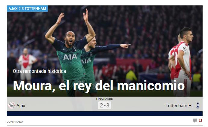 """""""REGE LA AZILUL DE NEBUNI"""". Reactii incredibile in presa internationala dupa nebunia de la Amsterdam! Ajax s-a prabusit in minutul 90+6, la hat trickul lui Moura"""
