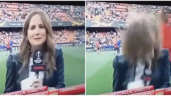 "FAZA INCREDIBILA inainte de Valencia - Arsenal! O jurnalista din Spania a ""incasat-o"" IN DIRECT! Nu a stiut ce a lovit-o: VIDEO"