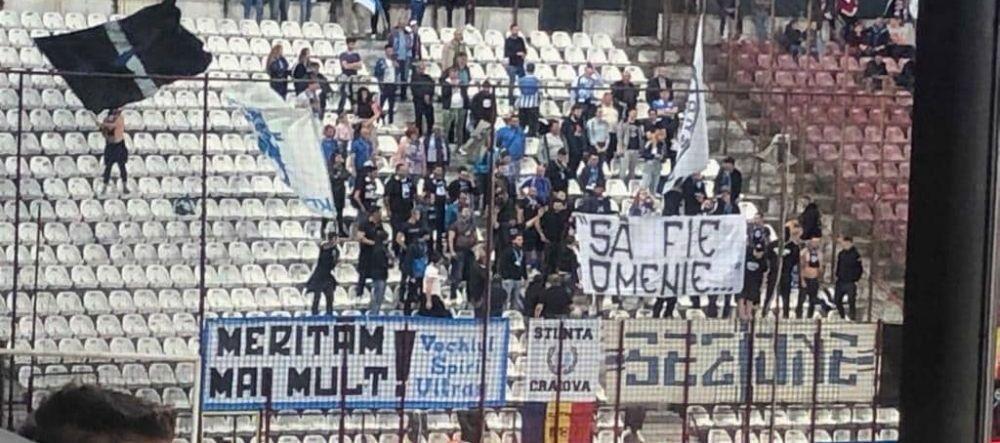 "CFR CLUJ - CRAIOVA | ""Sa fie omenie..."" Cer BLAT ANTI-FCSB? Mesajul misterios din peluza Craiovei la derby-ul cu CFR"
