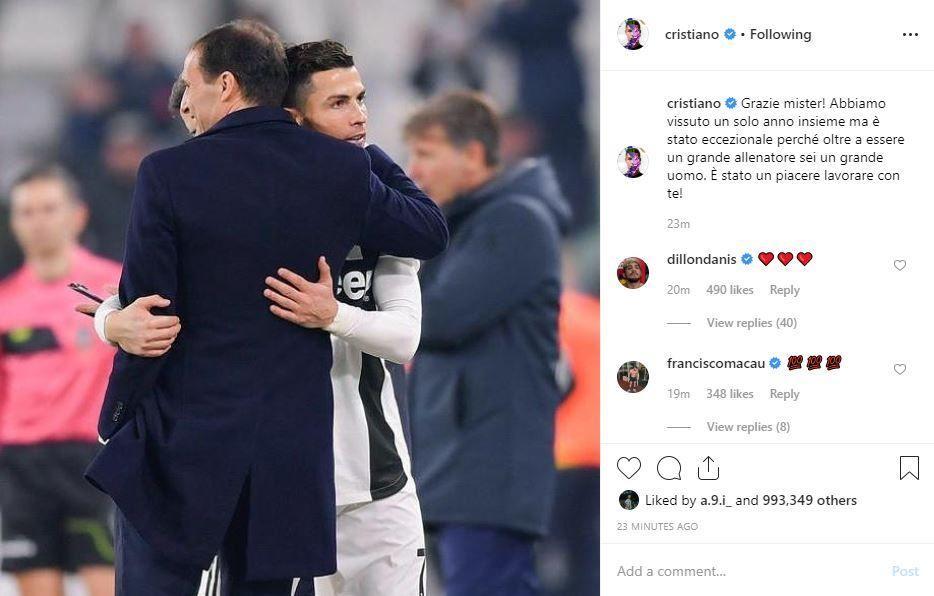 Cristiano Ronaldo, mesaj special pentru Allegri inainte de ultimul meci la Juventus! Ce a transmis portughezul: