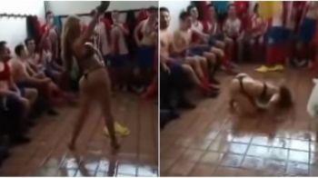 Imagini INTERZISE minorilor! O echipa din Spania a sarbatorit promovarea cu un numar de striptease in vestiar! VIDEO INCENDIAR