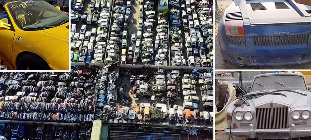 Imagini in premiera cu cimitirul auto din Dubai. Mii de bolizi de lux abandonati de seici. FOTO UIMITOR