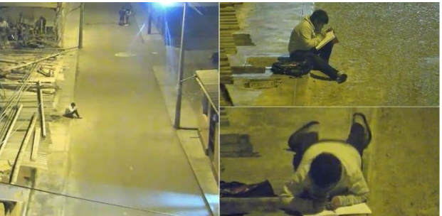 Un baietel sarac si fara electricitate a fost filmat când isi facea temele pe strada! Un milionar i-a schimbat viata