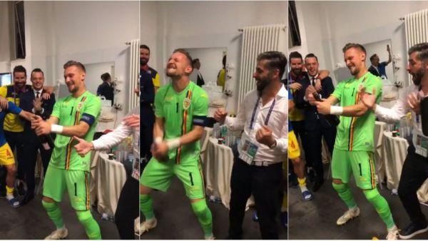 ROMANIA LA EURO U21 | Sa curga sampania! Jucatorii au declansat fiesta in vestiar dupa calificarea in semifinalele EURO si la JO! Capitanul Radu, maestrul de ceremonii