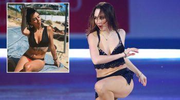 Patinatoarea sexy care a devenit celebra cu un numar de striptease pe gheata, imagini fierbinti din vacanta in Cipru! GALERIE FOTO