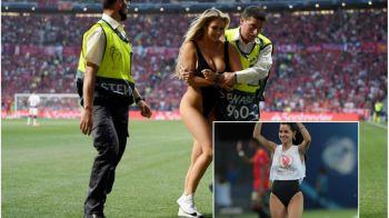 Faza care nu s-a vazut la TV in timpul finalei EURO U21! O tanara la fel de sexy a imitat-o pe Kinsey Wolanski, blonda devenita celebra dupa ce a intrerupt finala UCL. FOTO