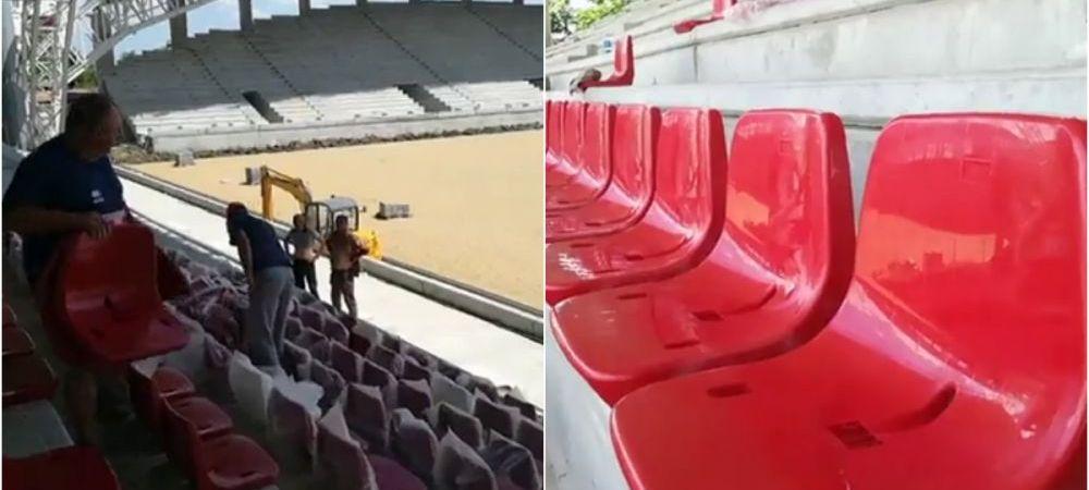 Se monteaza scaunele pe cel mai nou stadion din Romania! Arena va fi gata in aceasta toamna. FOTO