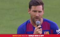 Messi, discurs EMOTIONANT, aplaudat in picioare de fanii Barcelonei! Ce a spus in noaptea care deschide sezonul