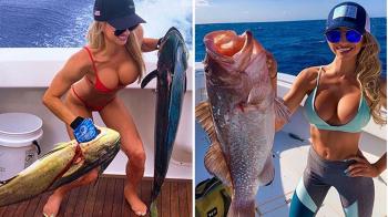 CE CAPTURA! Cea mai sexy pescarita din lume face ravagii in larg! Ce MONSTRU a prins. FOTO