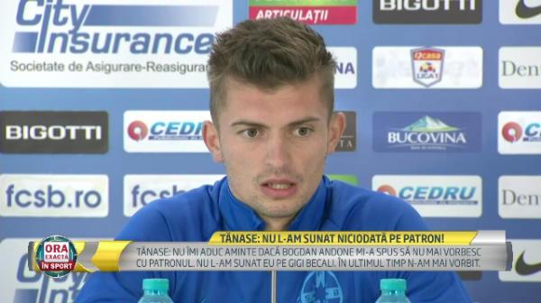 """FCSB - CFR CLUJ   Acuzat ca varsa tot la patron, Tanase a reactionat: """"Nu e adevarat, nu l-am sunat niciodata pe Gigi Becali!"""" Ce spune atacantul dupa dezvaluirile lui Bogdan Andone"""