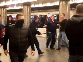 Nebunie la metrou si pe strazile din Budapesta! Ultrasii lui TSKA au OPRIT traficul si s-au batut cu politia si cu localnicii! Atentie, imagini DURE
