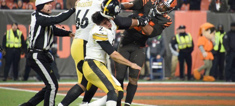 VIDEO   SCENE SOCANTE in NFL! Un jucator de la Cleveland Browns i-a scos casca adversarului si l-a lovit cu ea in cap