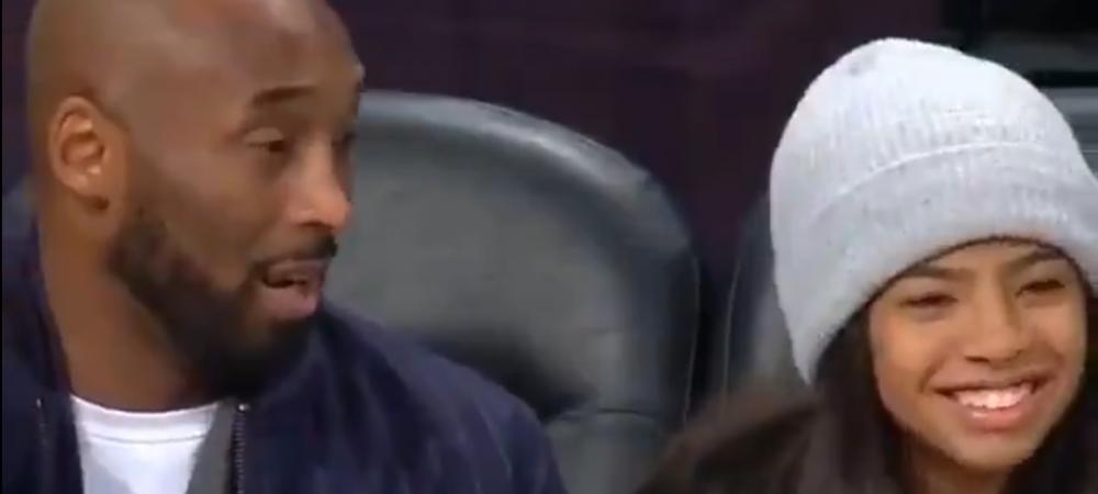 Clipul care a cucerit lumea! Kobe si Gianna au fost surprinsi vorbind in timpul meciului! Imaginile care fac inconjurul Planetei