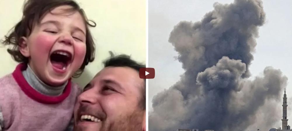 Clipul MOMENTULUI pe internet! Un tatic din Siria are o metoda inedita pentru a-si face fetita sa treaca peste sperieturile bombelor