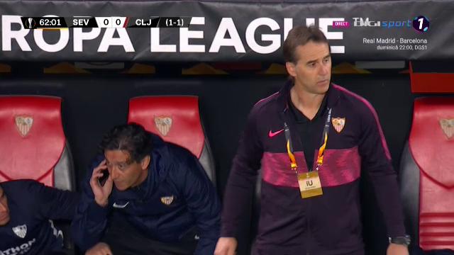 """""""Baga-l, ba, pe Nolito!"""" :)) Momentul care l-a facut sa rada in hohote pe Becali in meciul Sevillei! Telefon pe BANCA spaniolilor la meciul cu CFR"""