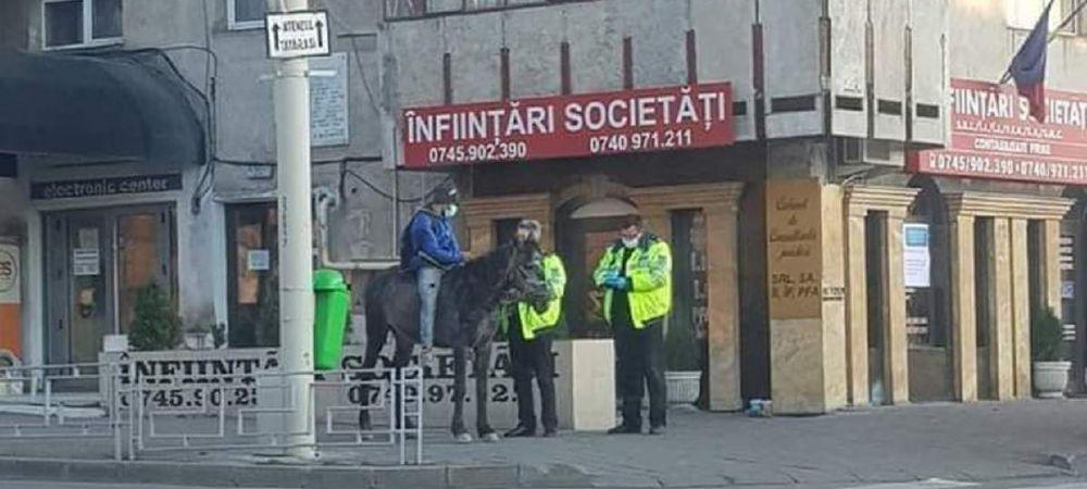 Un barbat a fost prins calare pe cal in centrul Iasiului! A explicat ca nevasta sa a nascut, iar din cauza restrictiilor nu a putut lua autobuzul