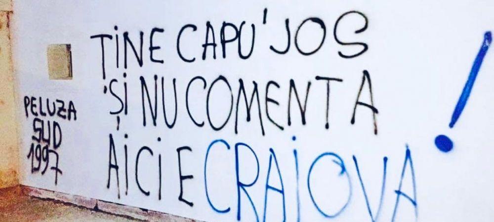 Au venit DIN NOU dupa Cartu! INCREDIBIL: ultrasii FC U Craiova au scris injurii pe cofetaria sefului CSU! Ce s-a intamplat in toiul noptii
