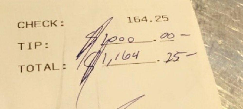 "Bacsis de 1000 de dolari la o consumatie de 164! Un sportiv a facut impresie la restaurant: ""Nu mi-a venit sa cred!"" Reactia fabuloasa a chelneritei"