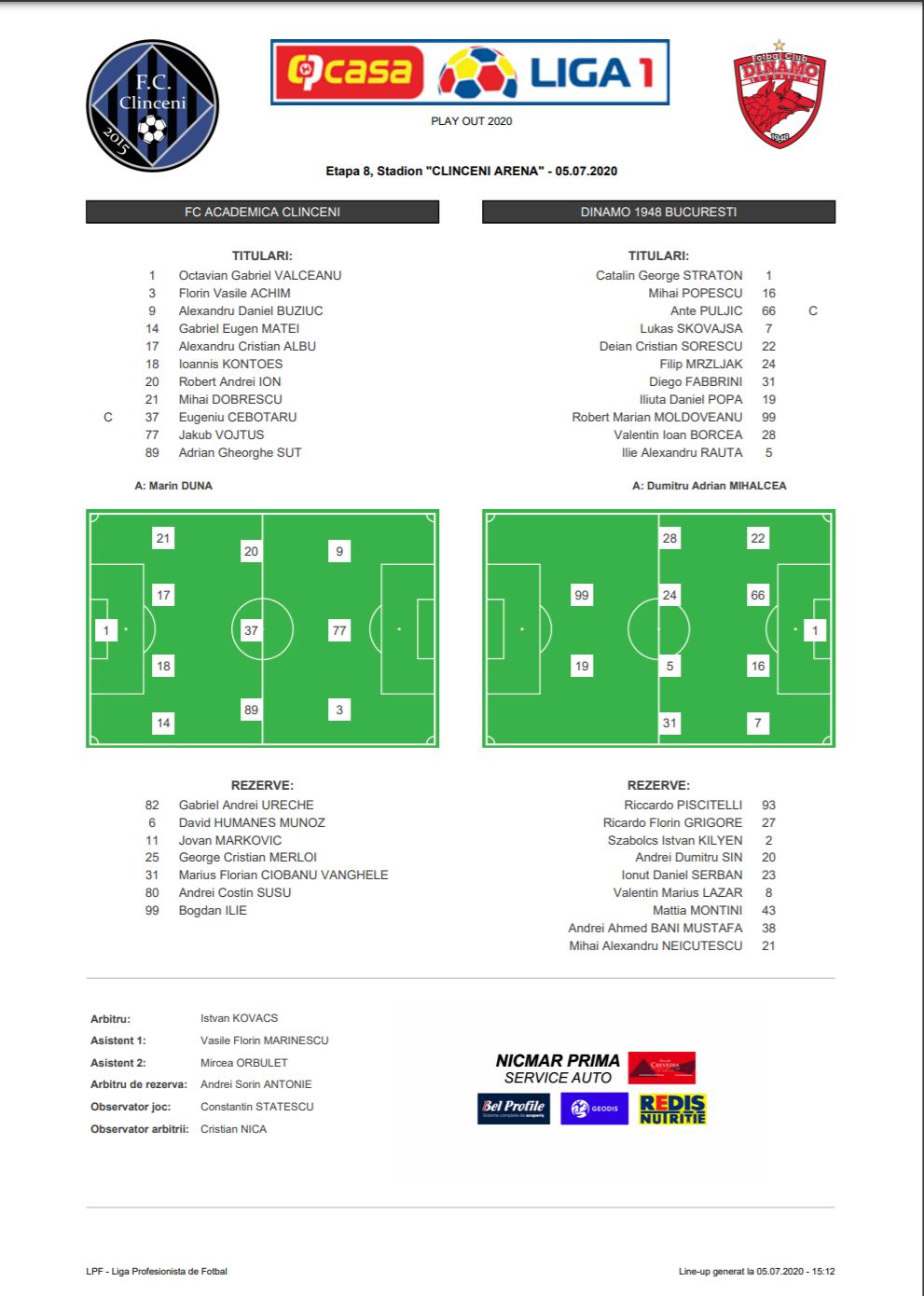 Academica Clinceni – Dinamo, LIVE TEXT de la ora 17:00  