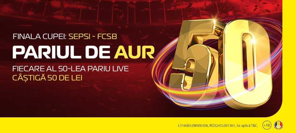 """(P) Pariază LIVE la Sepsi - FCSB! Promoția """"Pariul de Aur"""" te ține conectat 90 de minute la finala Cupei României"""
