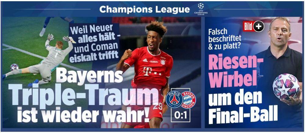 """Bild: """"Triplul vis al Bavariei este din nou realitate!"""" Cum au reactionat jurnalistii din Europa dupa victoria lui Bayern din finala Champions League"""